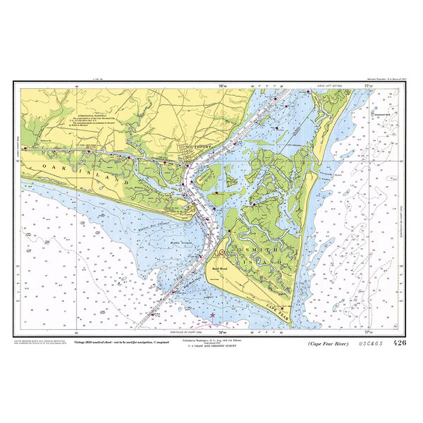 Southport / Cape Fear Nautical Chart Placemat - 4 pack