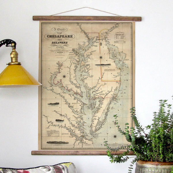 Chesapeake Bay Vintage Nautical Chart, c. 1862