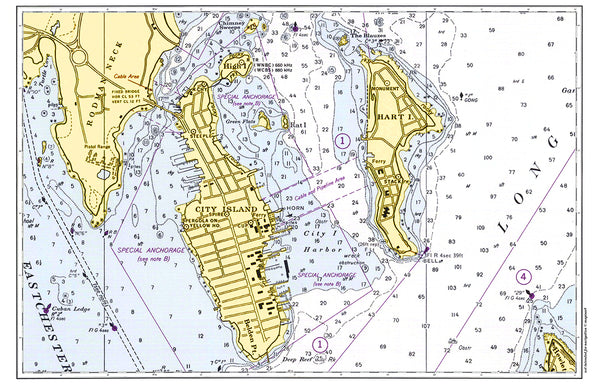 City Island, NY Nautical Chart Placemat - 4 pack