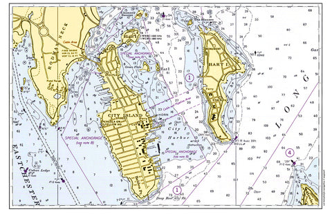 City Island, NY Nautical Chart Placemat - 4 pack - mysignalflags