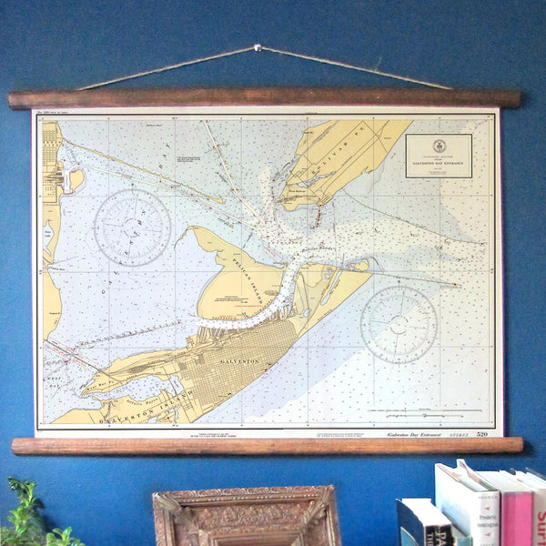 Galveston, Texas Vintage Nautical Chart