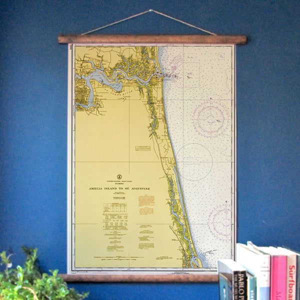 Jacksonville to St. Augustine Vintage Nautical Chart
