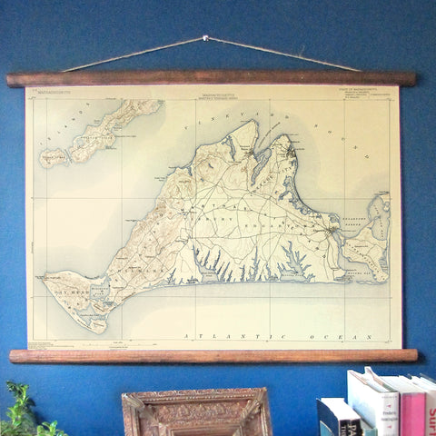 Martha's Vineyard Vintage Topographical Map Scroll - mysignalflags