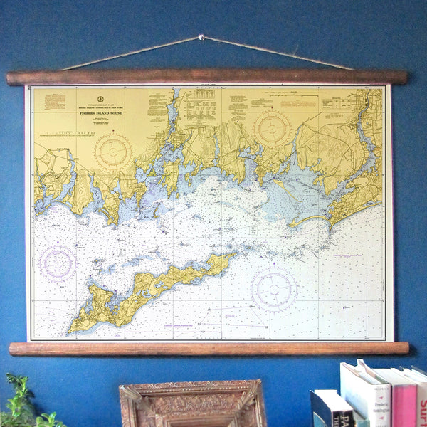 Mystic, CT & Fishers Island Vintage Nautical Chart