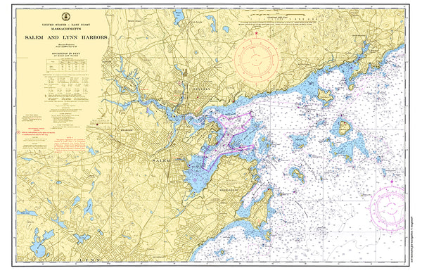 Salem & Marblehead Harbors MA Nautical Chart Placemat - 4 pack