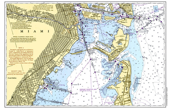 Miami, FL Nautical Chart Placemat - 4 pack