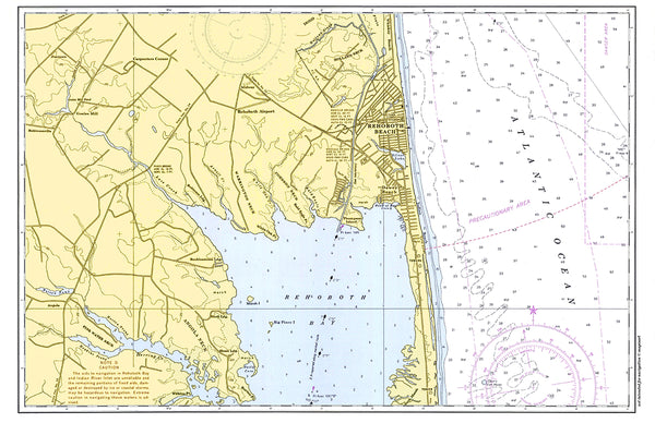 Rehoboth Beach Vintage Nautical Chart Placemat - 4 pack