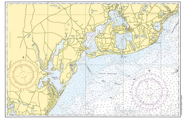 Cotuit - Santuit, MA Vintage Nautical Chart Placemat - 4 pack