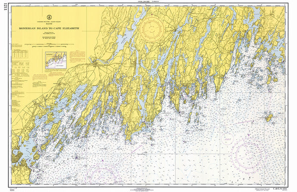 Monhegan Island to Cape Elizabeth Vintage Nautical Chart Placemat - 4 pack