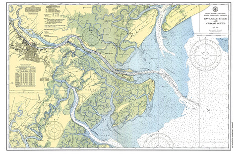 Savannah, GA & Wassaw Sound Nautical Chart Placemat