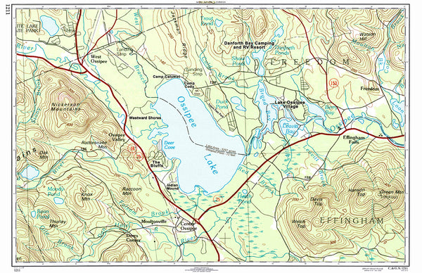 Ossipee Lake, NH Topo Map Placemat - 4 pack