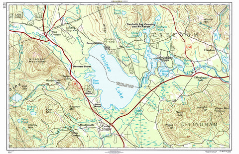 Ossipee Lake, NH Topo Map Placemat - 4 pack - mysignalflags