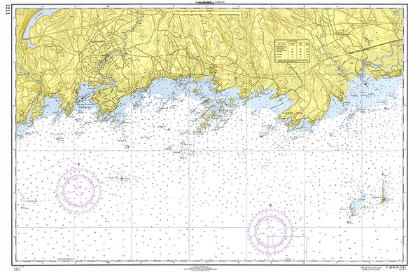 Stony Creek, Thimble Islands CT Nautical Chart Placemat - 4 pack