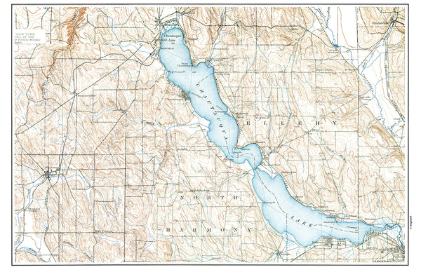 Chautauqua  Lake, NY Vintage Map Placemat - 4 pack