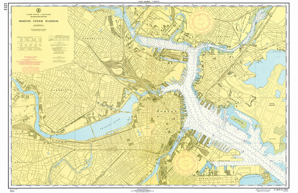 Boston Inner Harbor Nautical Chart Placemat - 4 pack