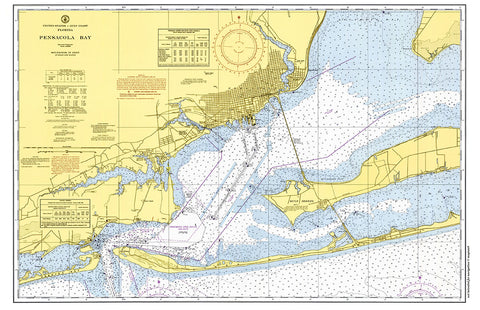 Pensacola, Fl Nautical Chart Placemat - 4 pack - mysignalflags