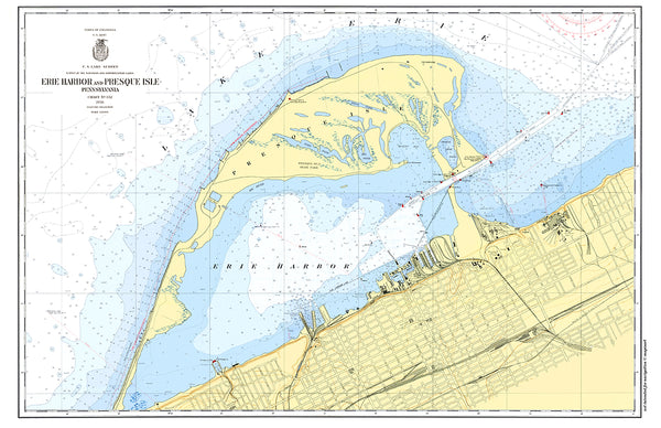 Presque Isle, PA Nautical Chart Placemat - 4 pack