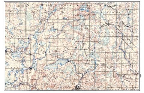 Pewaukee Lake Vintage Topo Map Placemat - 4 pack - mysignalflags