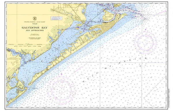 Galveston Bay Nautical Chart Placemat - 4 pack