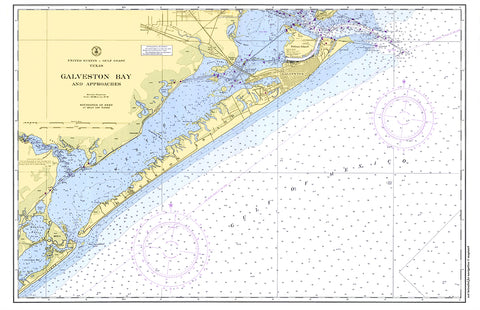 Galveston Bay Nautical Chart Placemat - 4 pack - mysignalflags
