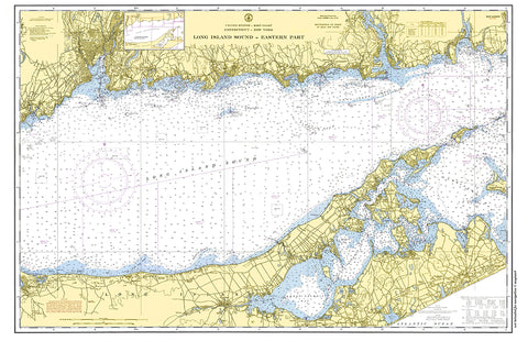 Long Island Sound, Eastern Part, CT Nautical Chart Placemat - 4 pack - mysignalflags