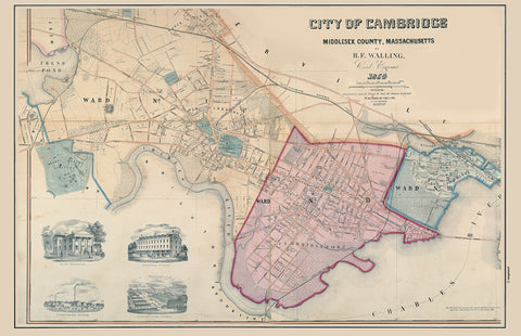 Cambridge, MA Antique Map PLACEMAT