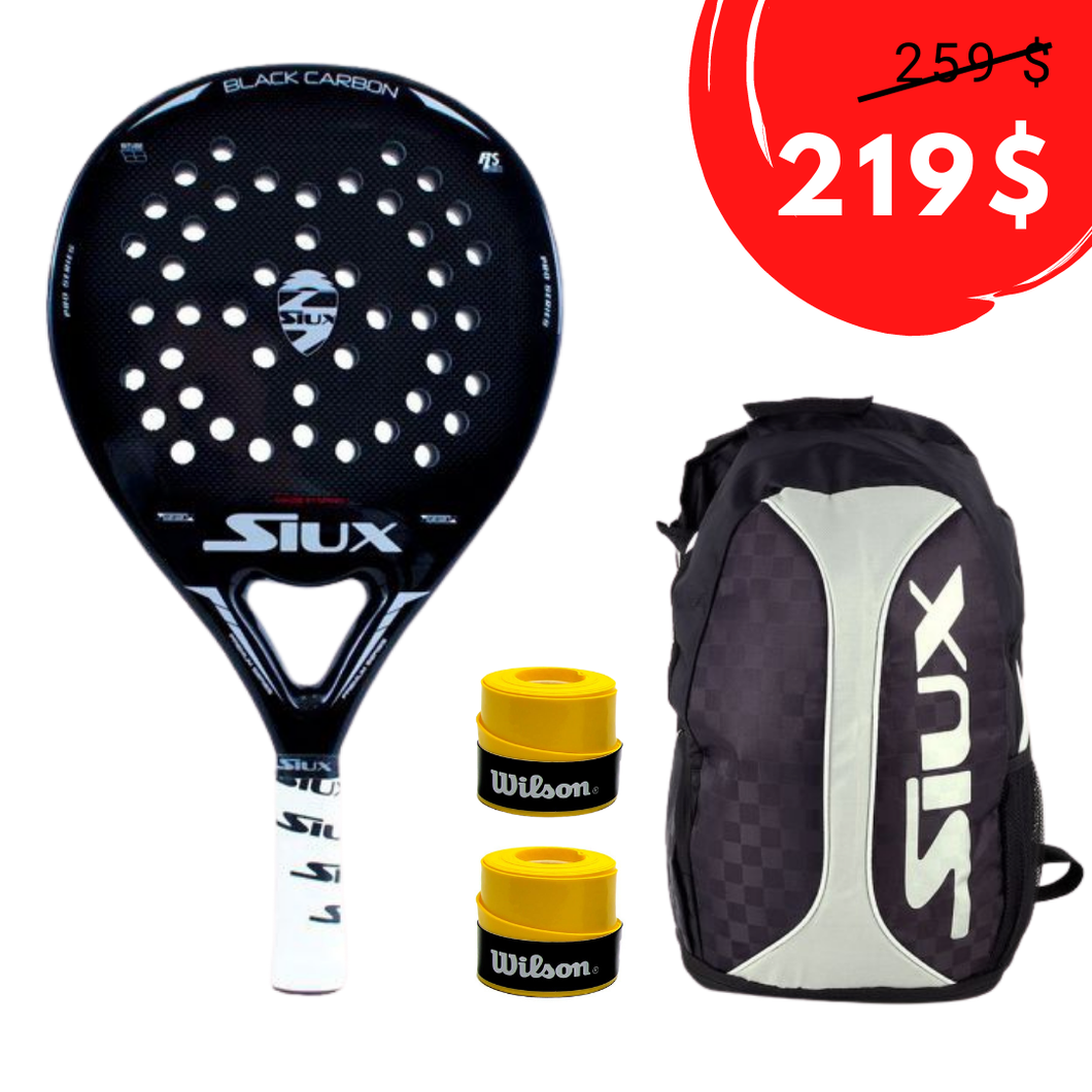 Pack Siux Black Carbón Brillo Y Mochila Siux Trail - Padel Shop Ecuador ®