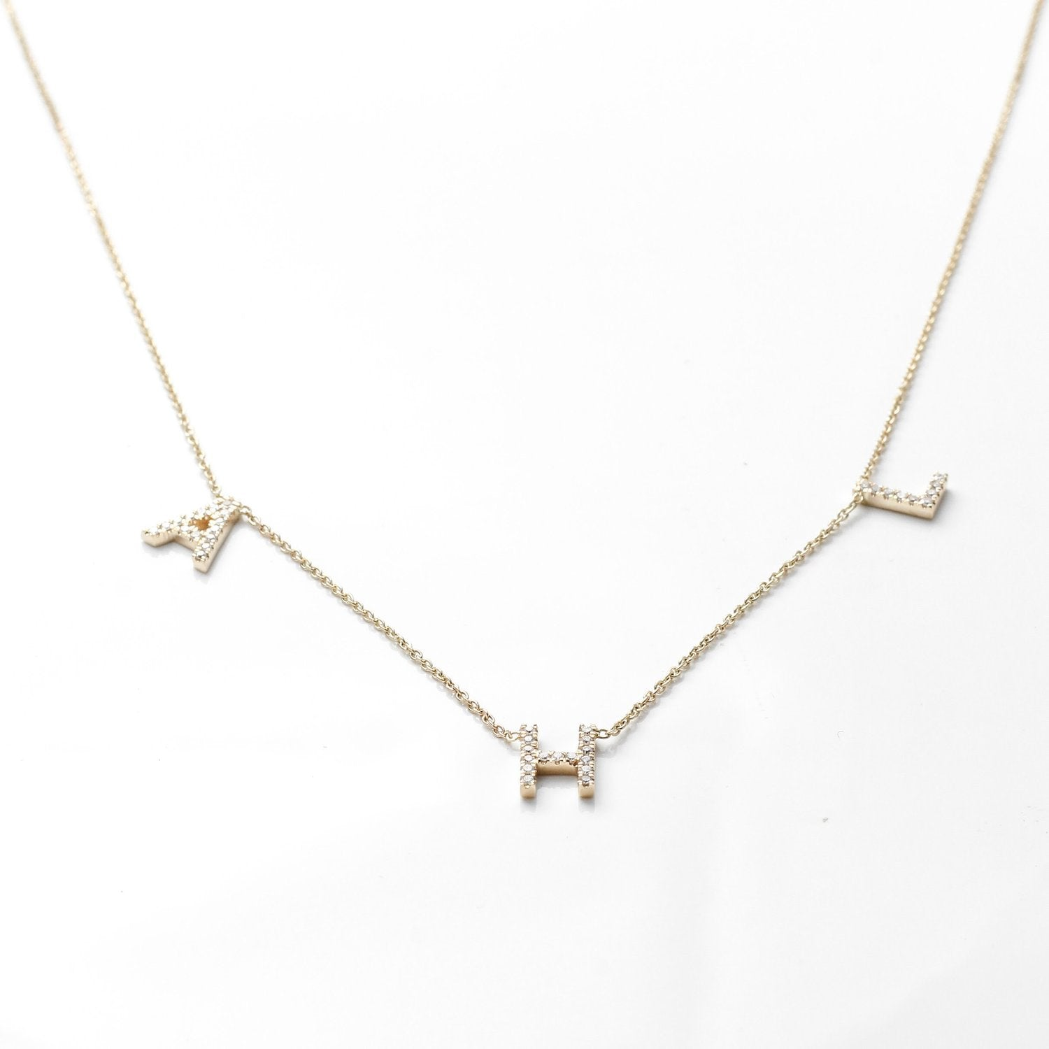 Custom Initial Necklace in 14k Gold