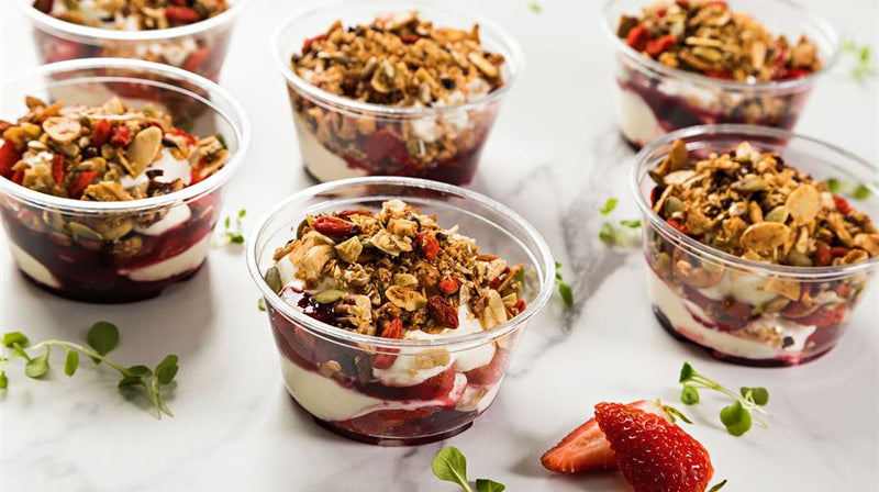 Vanilla Yoghurt, Strawberry Coulis & Spiced Granola (gf)