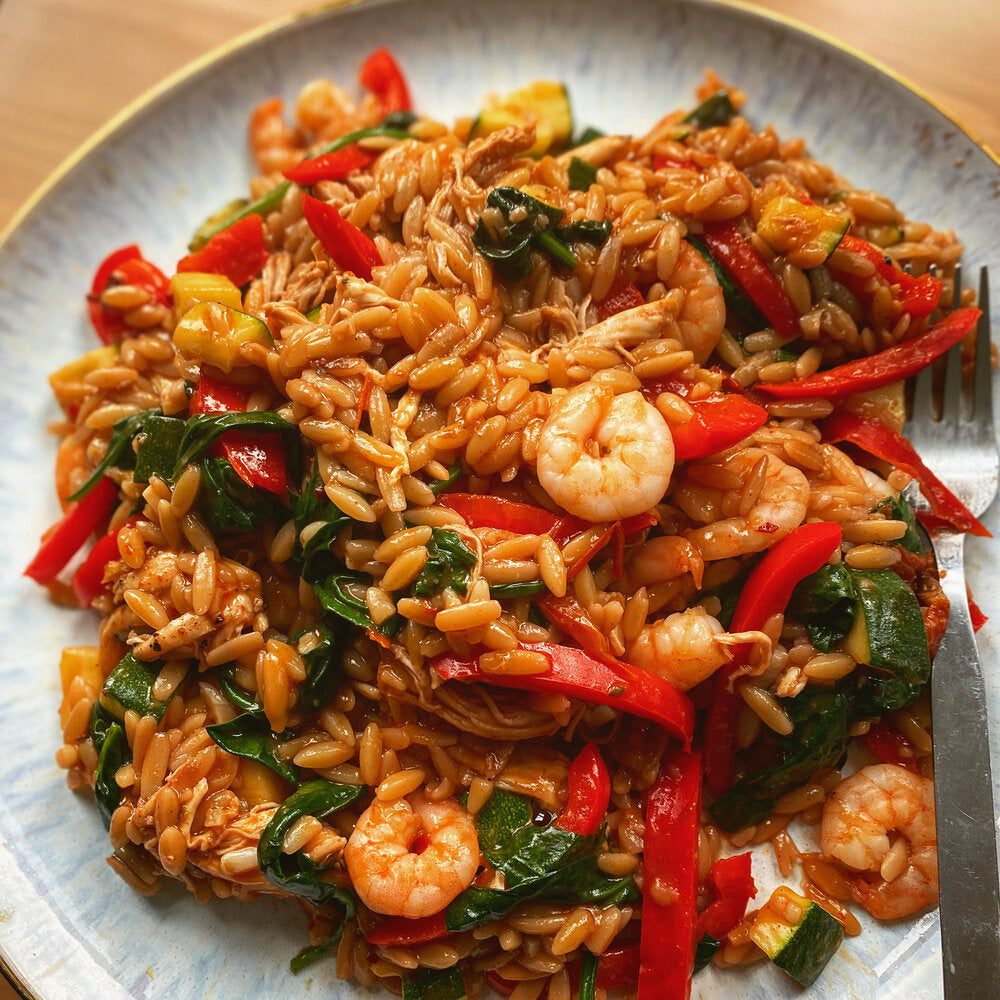 Monday: Grilled Chicken + King Prawn Lighter 'Paella' (Kids available)