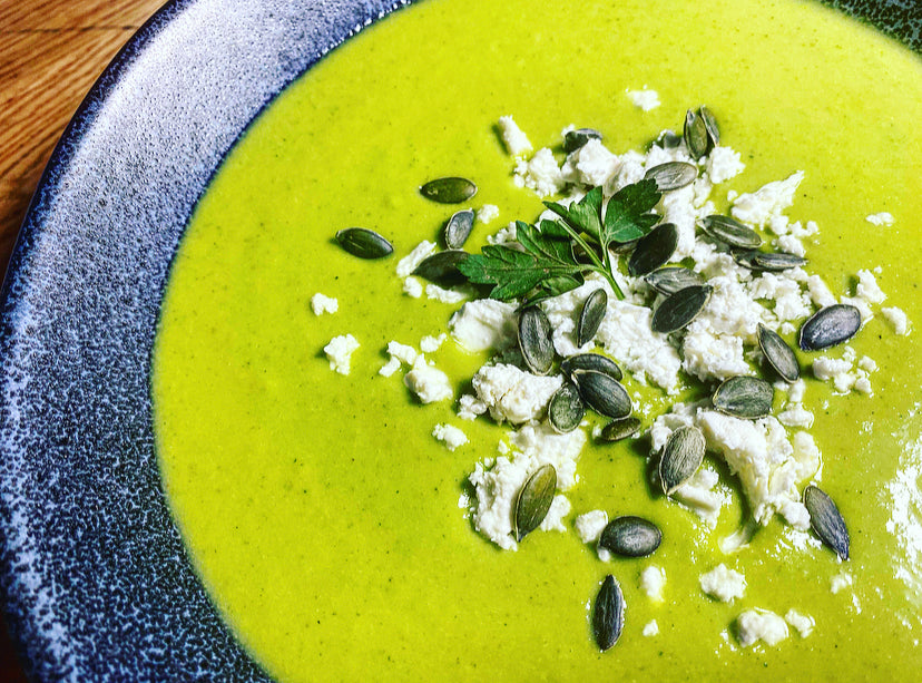 NEW! Monday: Pea + Mint Soup with Feta (V)