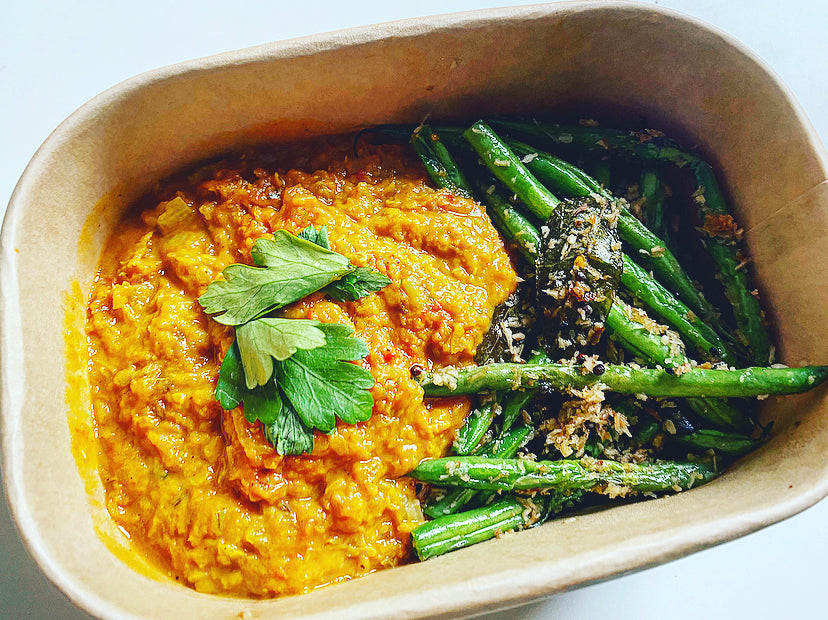 Monday - Red Lentil Dhal with Green Beans Poriyal (VE)