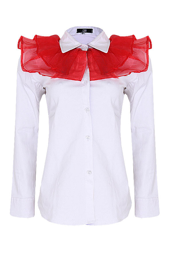 KADE WHITE SHIRT WITH RED ORGANZA FRILL