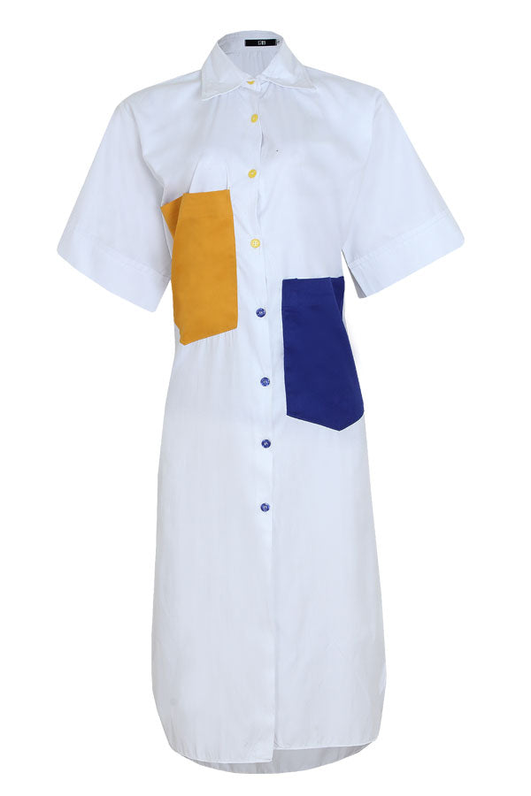 COLOR BLOCKED POCKET SHIRT DRESS