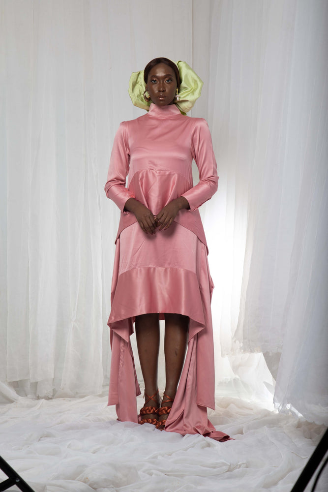 VERLA SILK HIGH NECK DRESS (BLUSH)