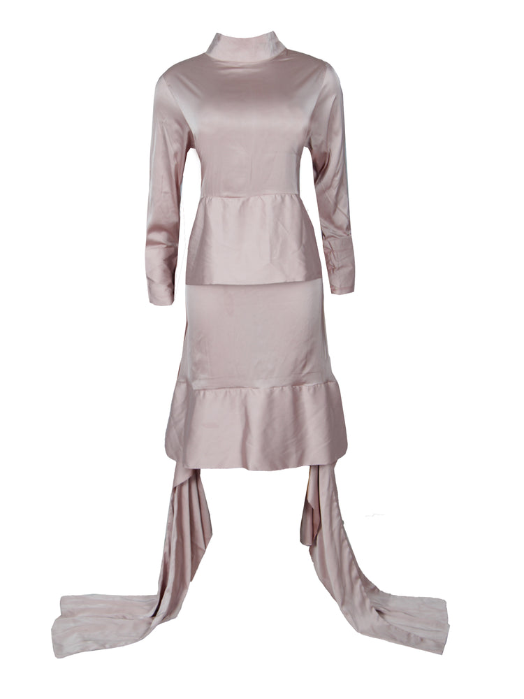 VERLA SILK HIGH NECK DRESS (CHAMPAGNE)