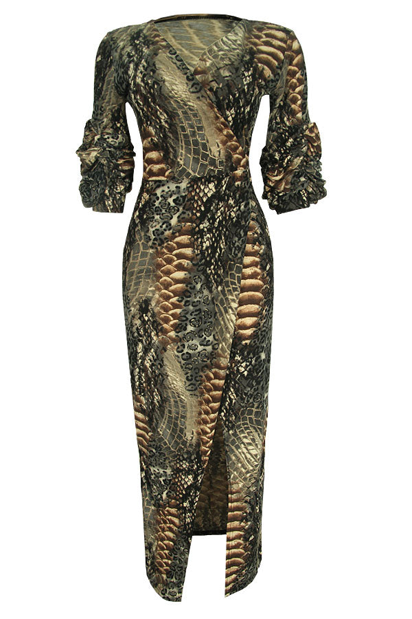 DERIN SNAKEPRINT WRAP DRESS