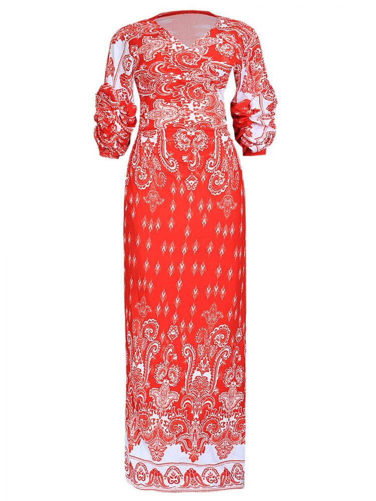 ZURY PAISLEY WRAP DRESS WITH PUFFY SLEEVE