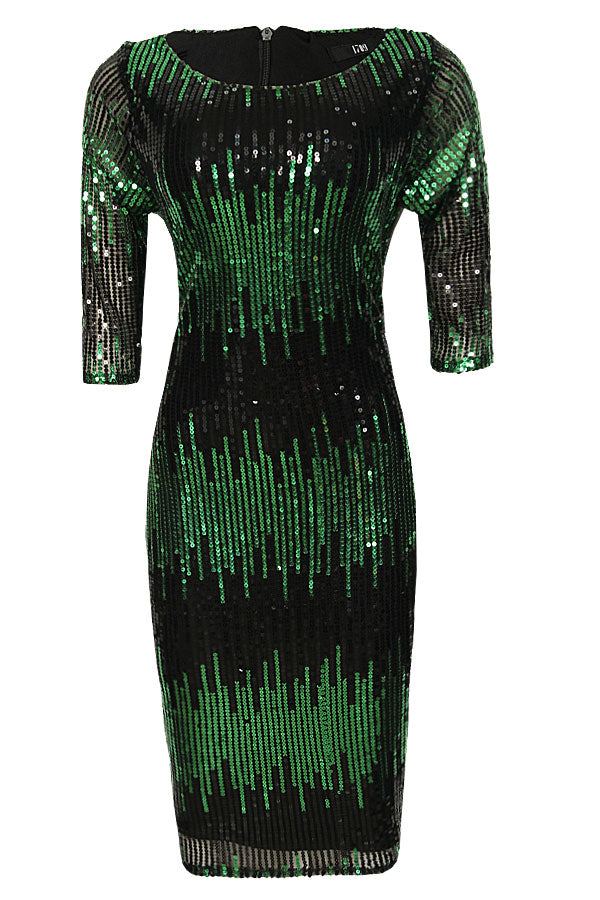 MAYAMI GREEN AND BLACK SEQUIN MIDI DRESS