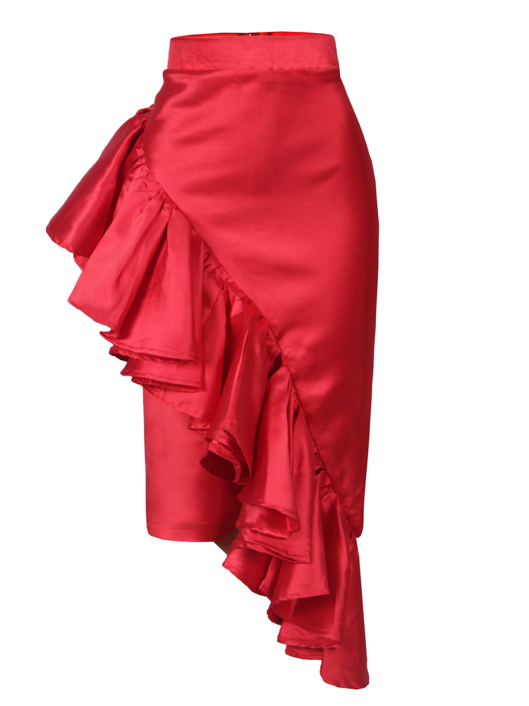 JENNAH RUFFLE SKIRT RED
