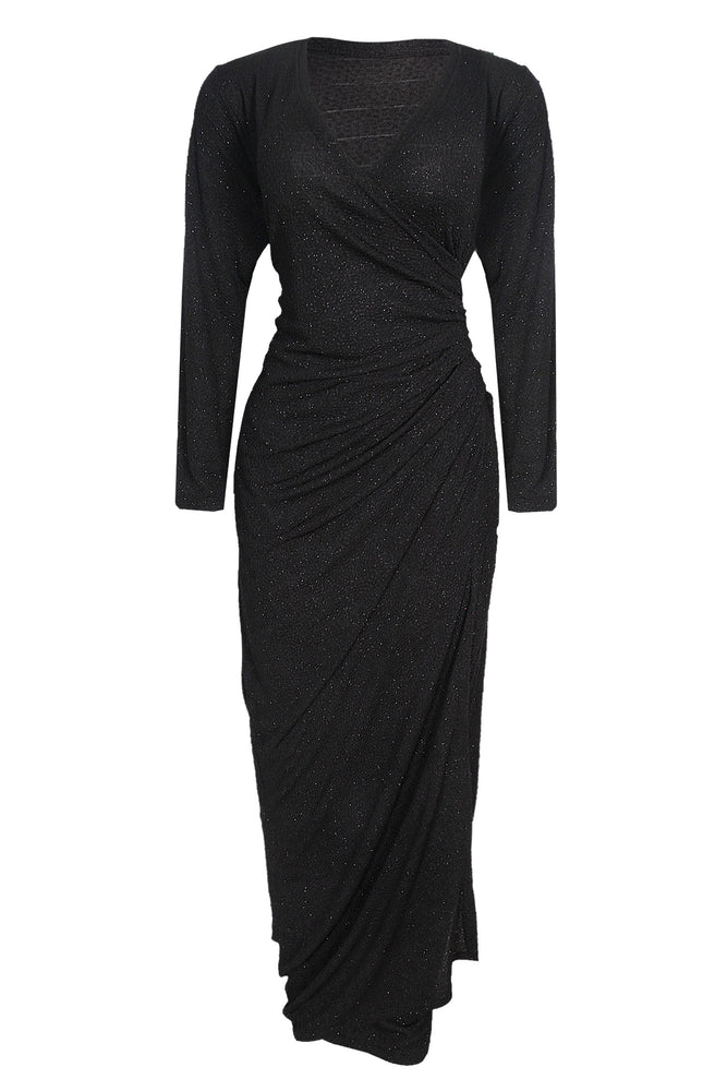 Zurie Sparkle Black Wrap Dress