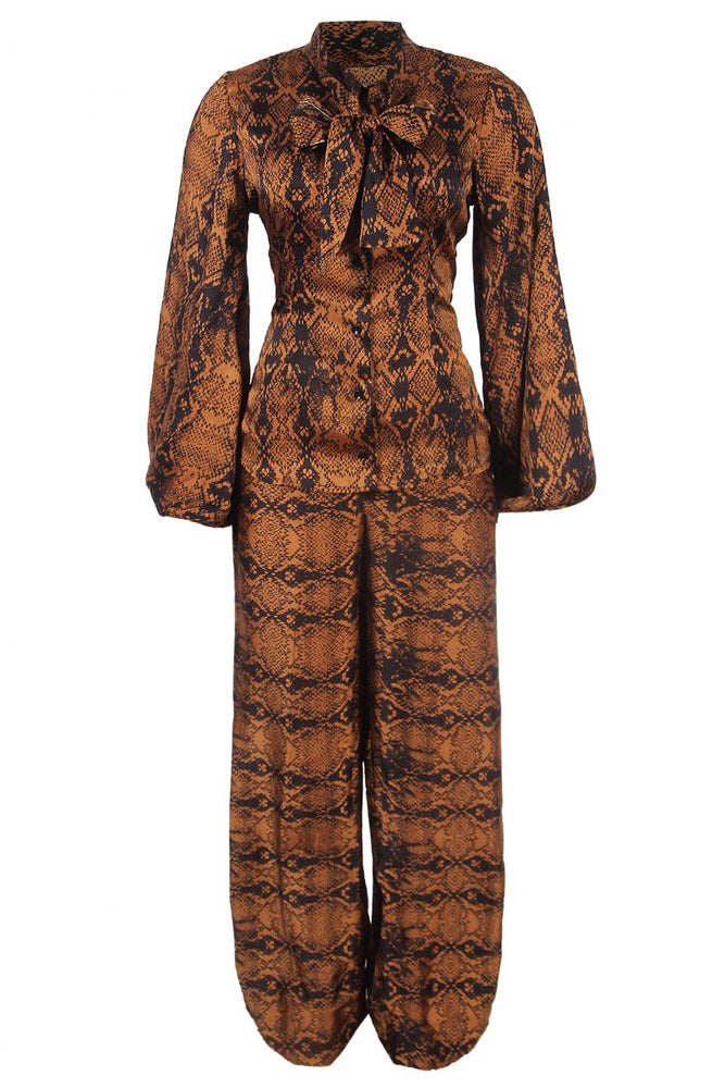 ZIBAH SNAKE PRINT SILK TWO PIECE SET