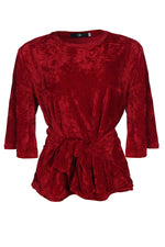 RED VELVET TIE FRONT TOP