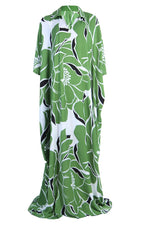 NAHILA GREEN FLORAL BOUBOU DRESS