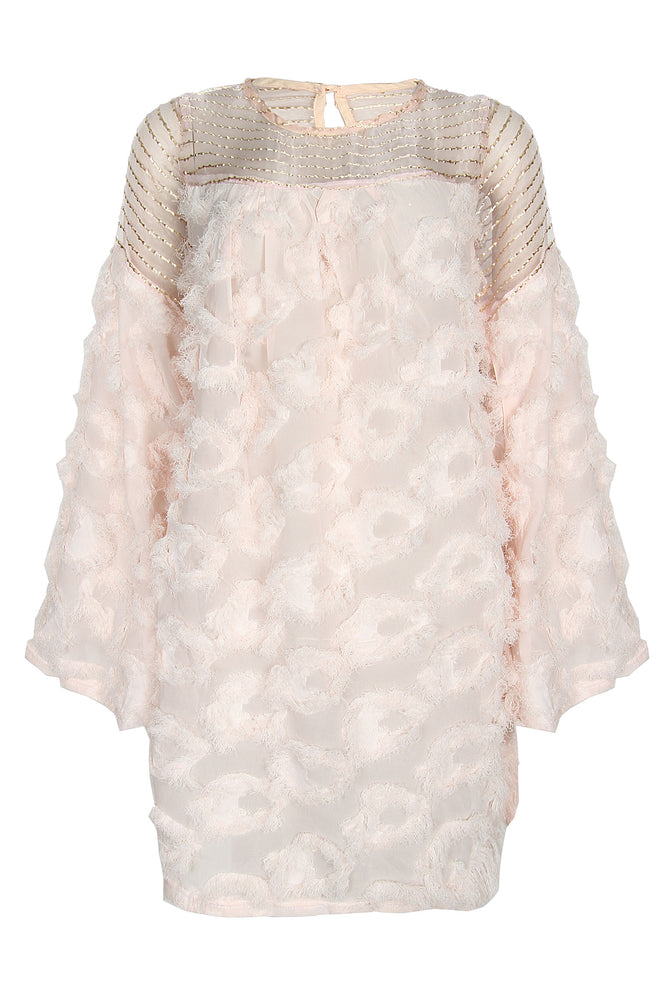 TAMARA PEACH FEATHER DRESS