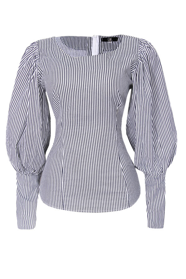 KAMKAH PUFF SLEEVE STRIPE TOP