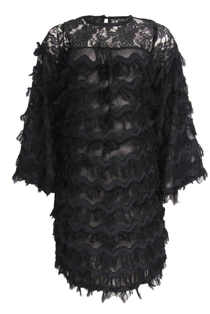 TAMARA FEATHER BLACK DRESS