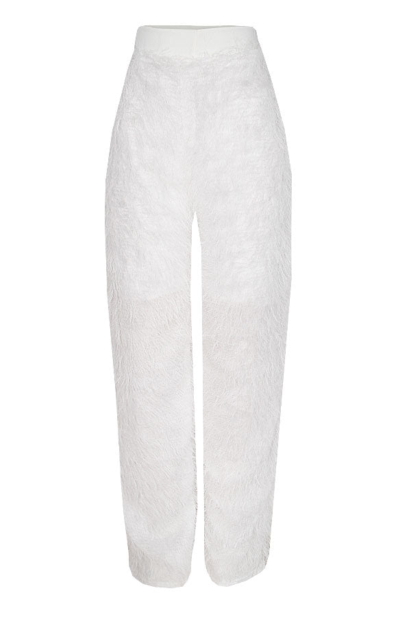 TAMARA FEATHER WHITE WIDE LEG PANTS
