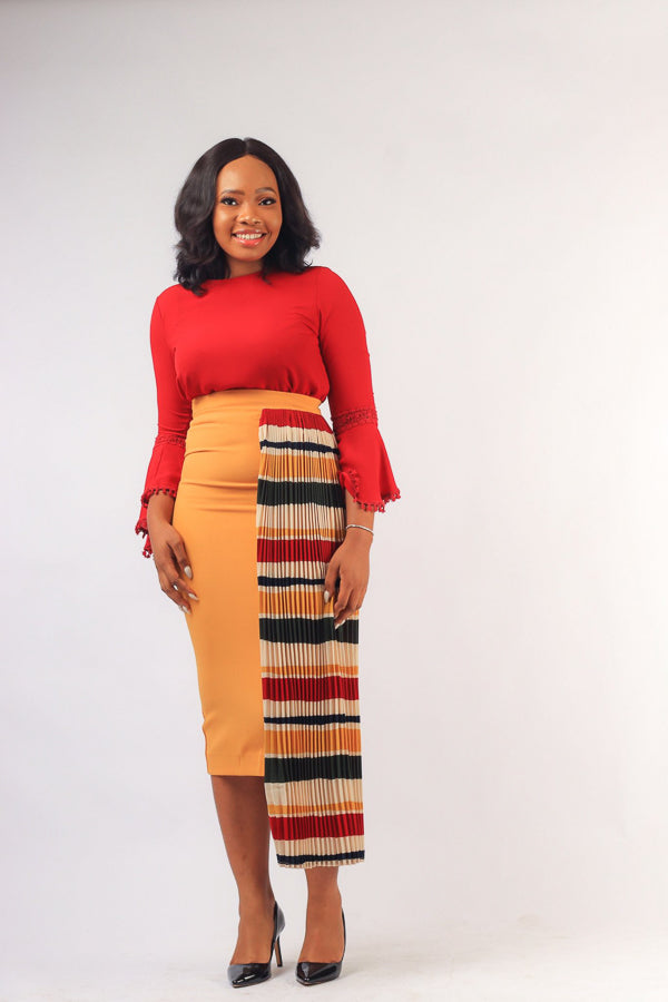 DESOLA SIDE PLEAT ASYMMETRIC SKIRT