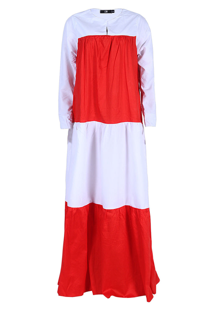 VIDA ORANGE COLOUR BLOCK MAXI DRESS